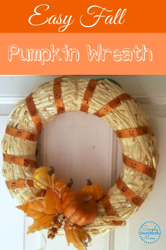 This cute fall pumpkin wreath can be made in less than 30 minutes. You can use materials from the dollar store and have a cute inexpensive fall wreath in minutes.
