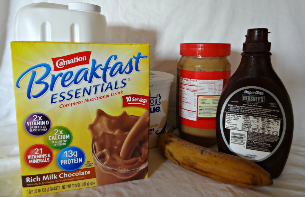 ingredients for chocolate smoothie