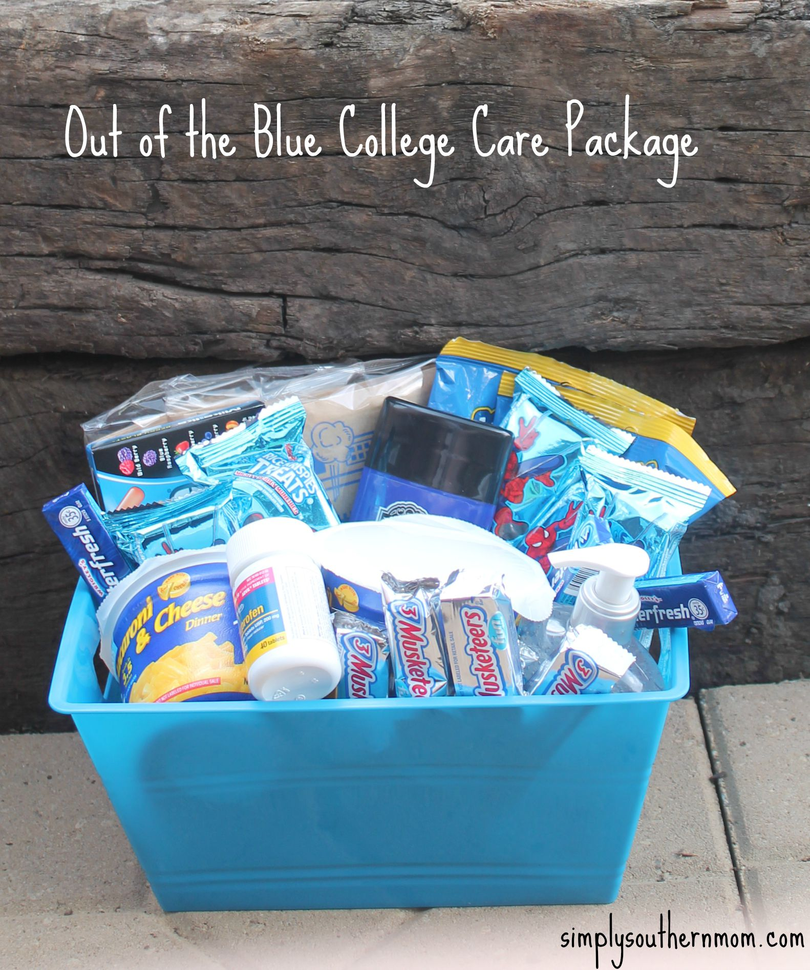 Out of the blue diy college gift basket simply southern mom out of the blue college care package negle Choice Image