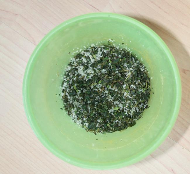 herbs with salt