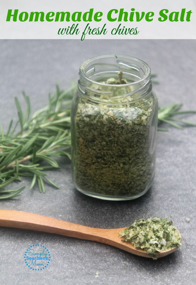 homemade chive salt with fresh herbs
